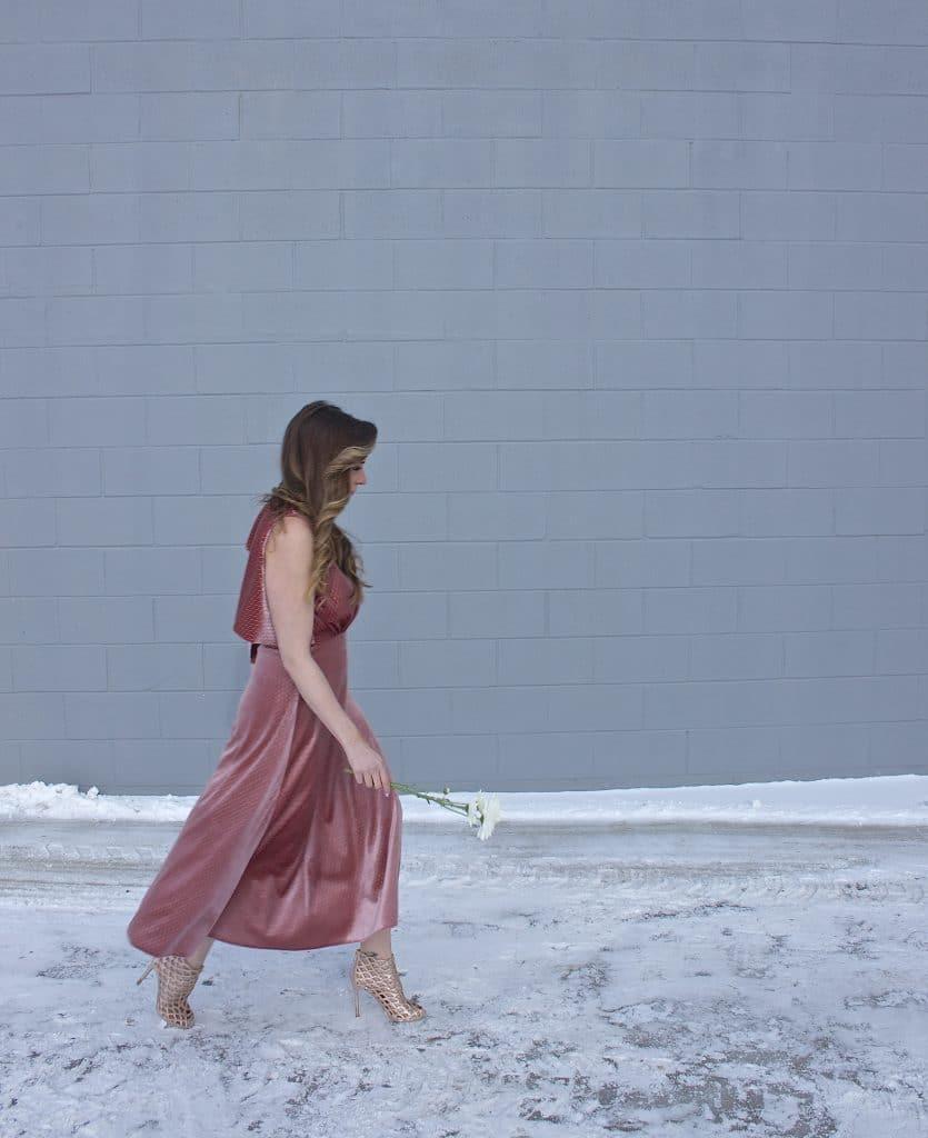 Pink Velvet Midi Dress-1
