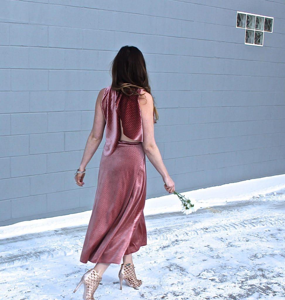 Pink Velvet Midi Dress-3
