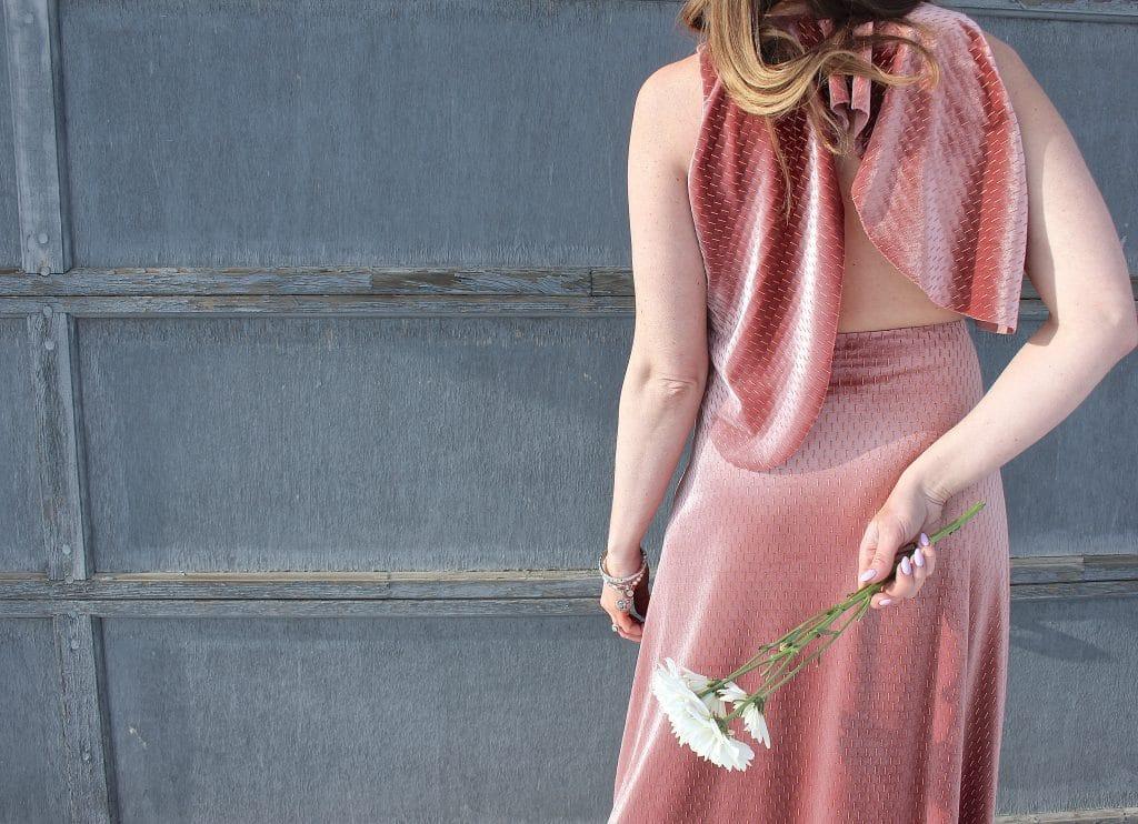 Pink Velvet Midi Dress-6