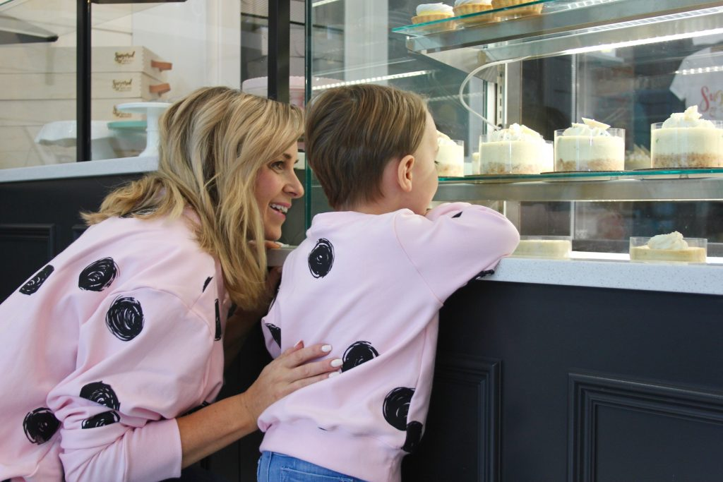 Mom + Me Style: Pink Polka Dot Sweaters + The Best Cake Ever