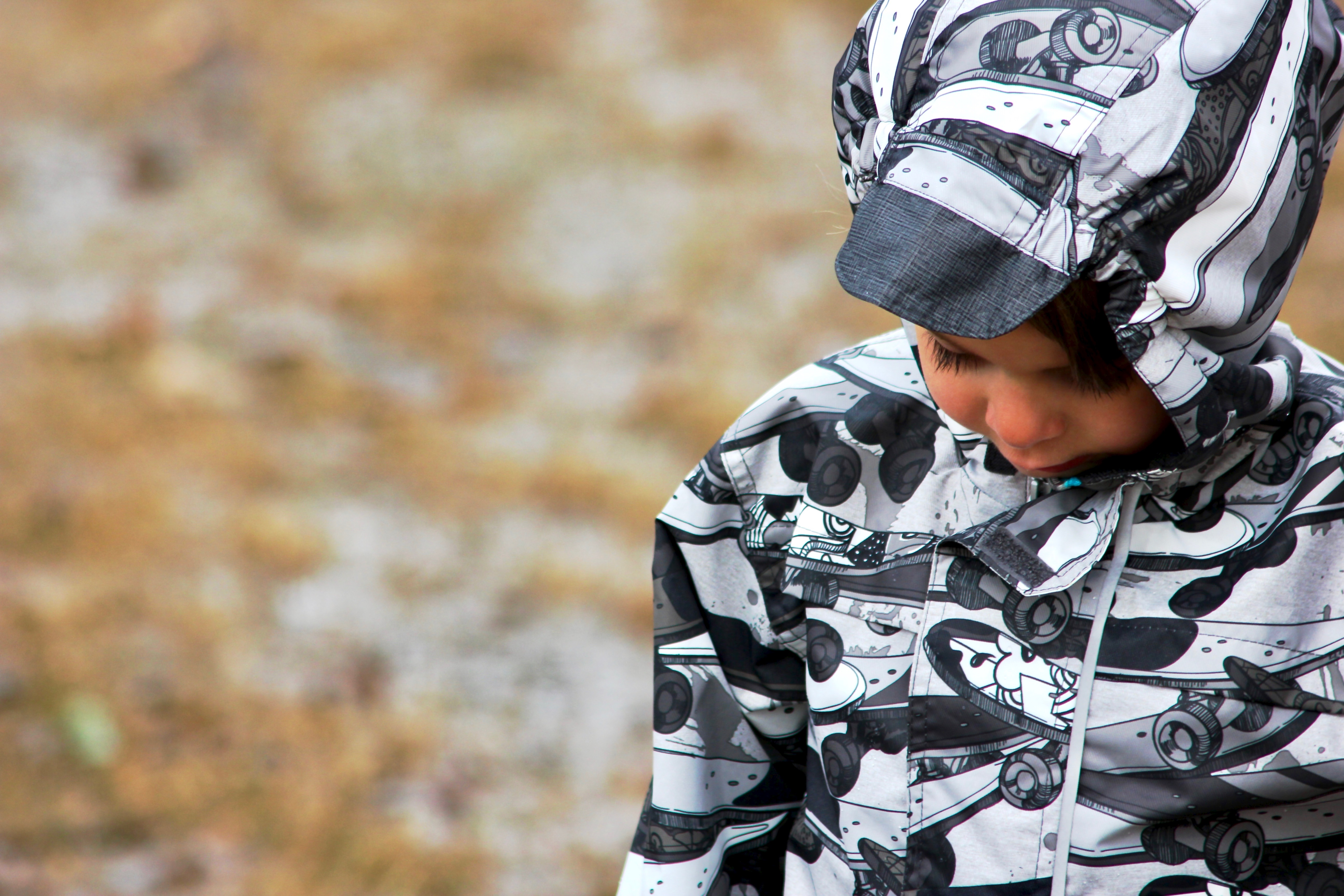 skateboard print rain jacket-7