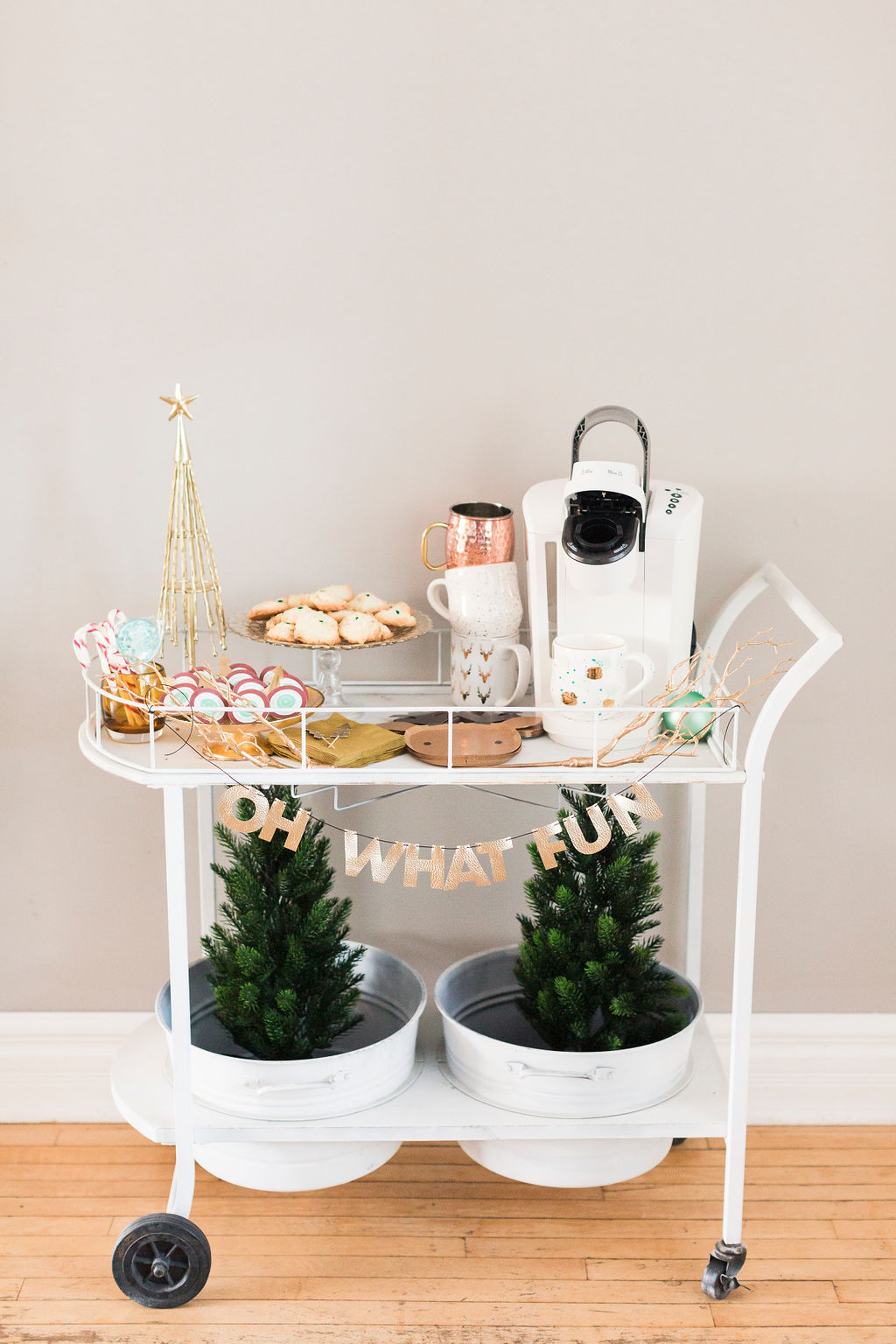 pretty gold and white Christmas Coffee Cart-3