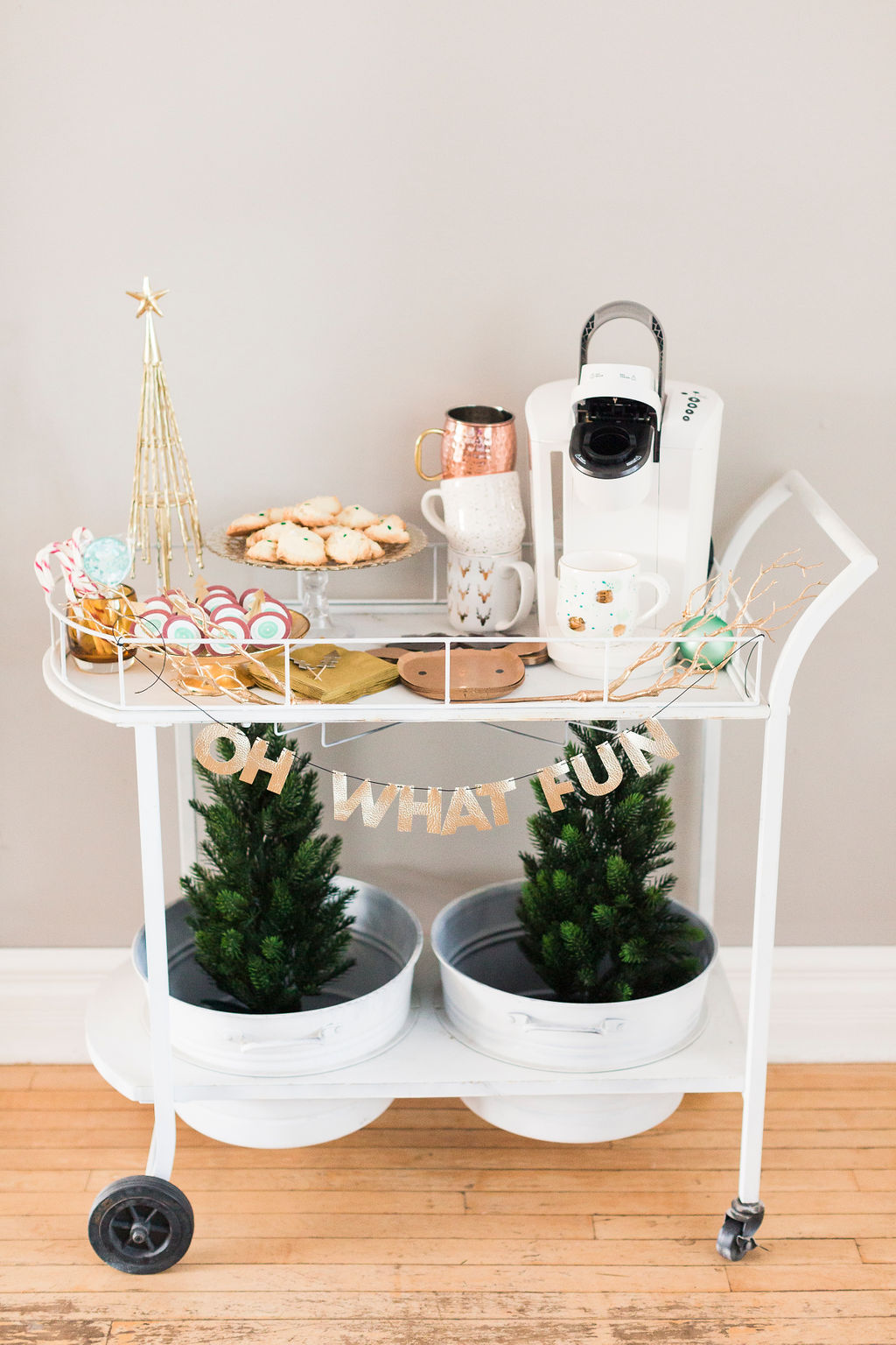 pretty gold and white Christmas Coffee Cart-1