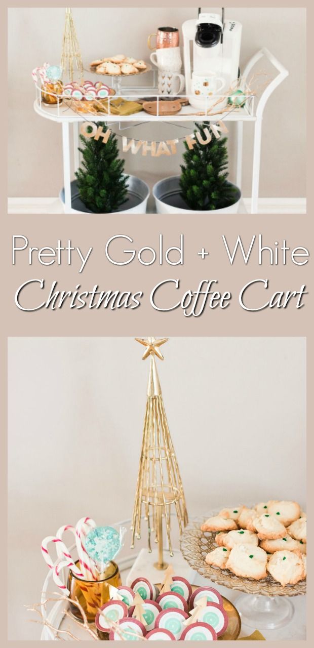 pretty gold and white Christmas Coffee Cart-12